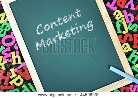 Content Marketing text on school board and magnetic letters