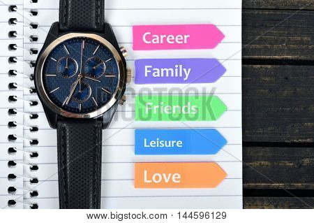 Time Management text on sticky colorful arrows
