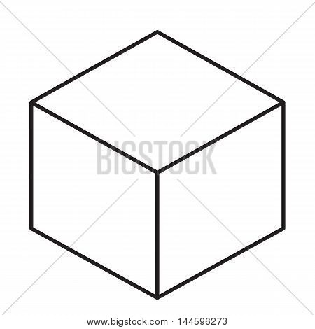 Cube sign icon on white background vector illustration