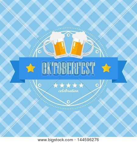 Beer festival Oktoberfest badge on blue background pattern. vector illustration