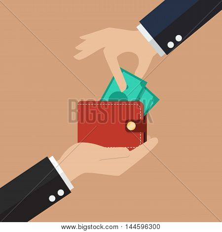 Hand pick a money from other wallet. other people's money concept