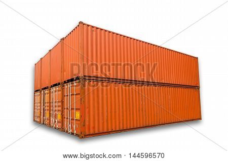Container storage on isolation white background Contianer shipping yard.