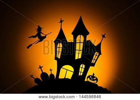 Celebrating halloween, pumpkins for Halloween, silhouetted against the moon, silhouette of a witch on a broomstick, silhouette of the cemetery, silhouette of the castle