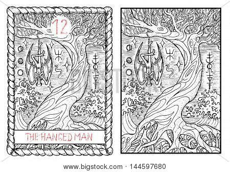 The hanged man. The major arcana tarot card, vintage hand drawn engraved illustration with mystic symbols. Vampire Dracula or demon hanging on the old tree.