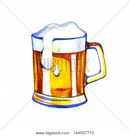 pint of beer and a glass mug hand drawn in watercolor
