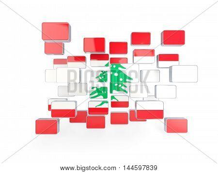 Flag Of Lebanon, Mosaic Background