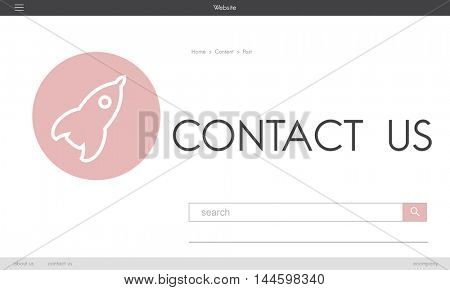 Contact Helpdesk Customer Service Spaceship Graphic Concept