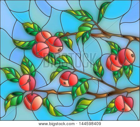 Illustration in the style of a stained glass window with the branches of Apple trees the fruit branches and leaves against the sky. Vector.