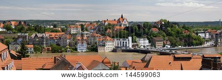 MEISSEN, GERMANY - JUNE 5, 2013:View of the River Elbe, flooded during the flood