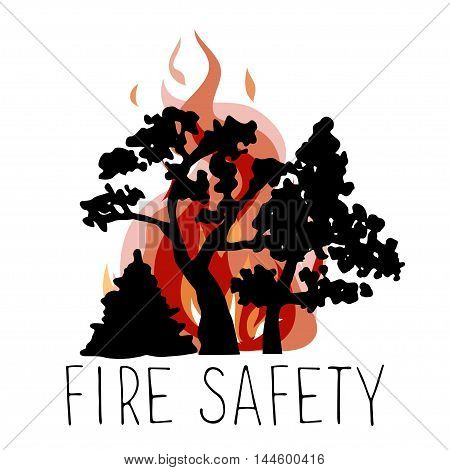 No wildfire vector icon. Silhouettes of trees on a background of fire.