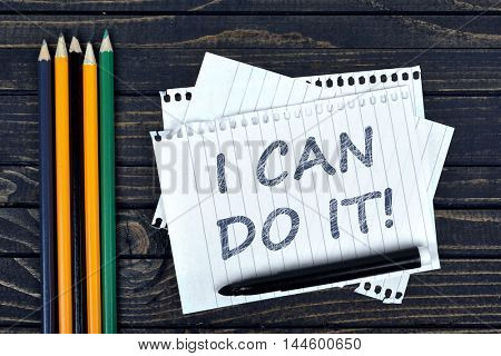 I can do it text on notepad and office tools on wooden table