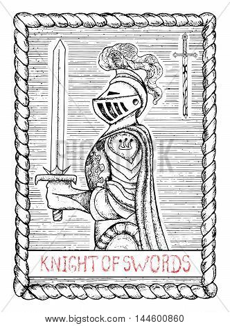 Knight of swords. The minor arcana tarot card, vintage hand drawn engraved illustration with mystic symbols. Half-body portrait of medieval knight in armour with sword, profile view