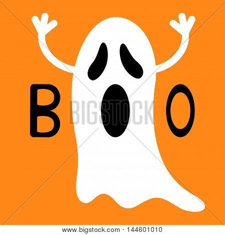 Happy Halloween. Funny flying ghost with hands. Boo text. Greeting card. Cute cartoon character. Scary spirit. Baby collection. Orange background. Flat design. Vector illustration