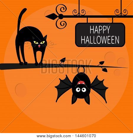 Cat arch back on tree branch. Cute hanging bat. Happy Halloween greeting card. Wrought iron sign board. Funny cartoon character. Big moon. Orange background. Flat design. Vector illustration