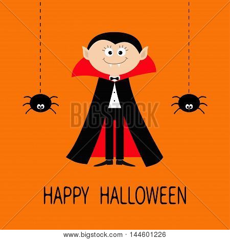 Count Dracula wearing black and red cape. Cute cartoon vampire character with fangs. Two hanging spider insect. Dash line web. Happy Halloween. Flat design. Orange background. Vector illustration