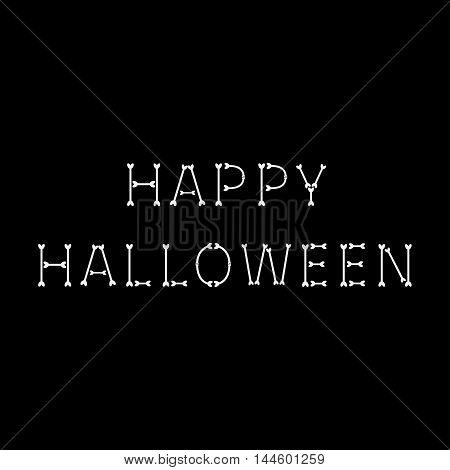 Happy Halloween bone text. Black background. Vector illustration