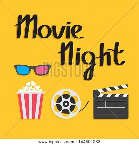 3D glasses Popcorn Movie reel Open clapper board Cinema icon set. Flat design style. Yellow background. Movie night text. Vector illustration