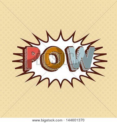 pow comic pop art style vector illustration design