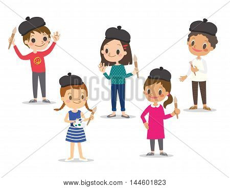 isolated kids children with painting tools cartoon character vector illustration