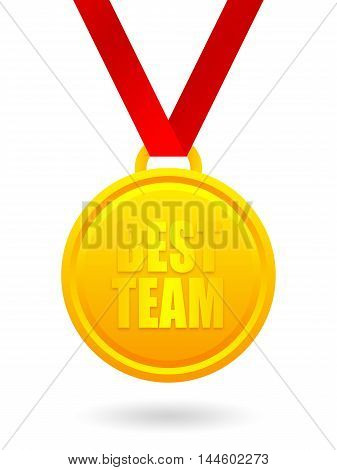Best team golden medal on red ribbon isolated on white background