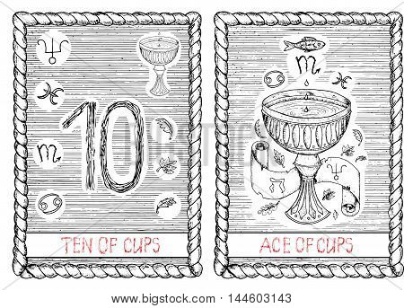 Ten and ace of cups. The minor arcana tarot card, vintage hand drawn engraved illustration with mystic symbols.