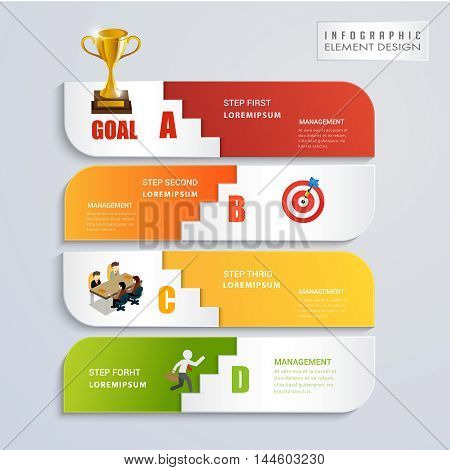 Abstract modern step goal and competition concept infographic. Can used for presentation data diagram and infographic business.Vector illustration concept.