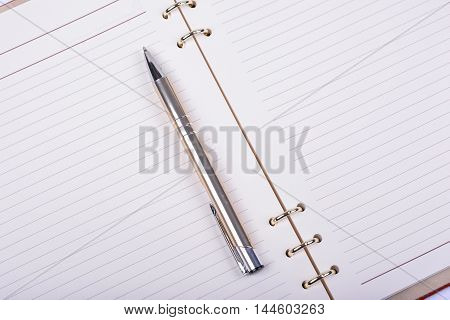 Opened diary and ball pen on white background