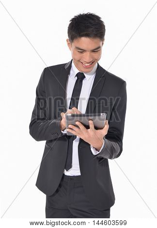Happy Young business Man Using Digital Tablet Isolated on White Background
