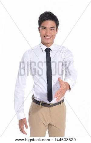 Young man with arm out in a welcoming gesture