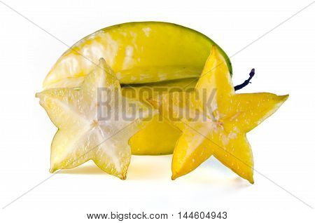Star Apple Fruit With Half Cross Section Isolated On White