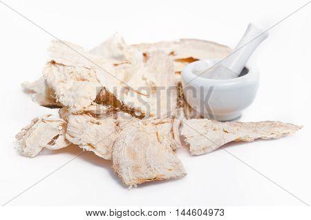 Pueraria Mirifica Or White Kwao Krua (pueraria Candollei Graham Ex Benth. Var Mirifica) With Mortar