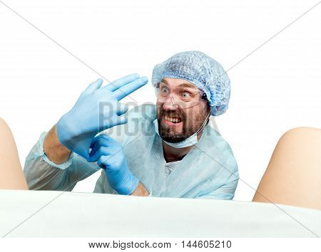 crazy gynecologist examines a patient. mad doctor expression different emotions and makes different hand's signs.