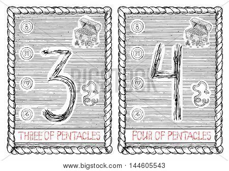 Three and four of pentacles. The minor arcana tarot card, vintage hand drawn engraved illustration with mystic symbols.