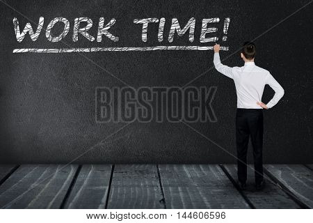 Work time text write on black board