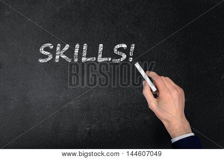 Skills text write on black board