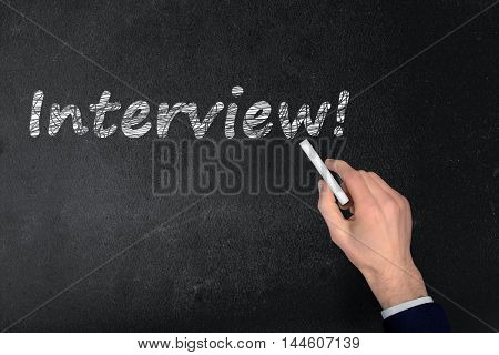 Interview text write on black board