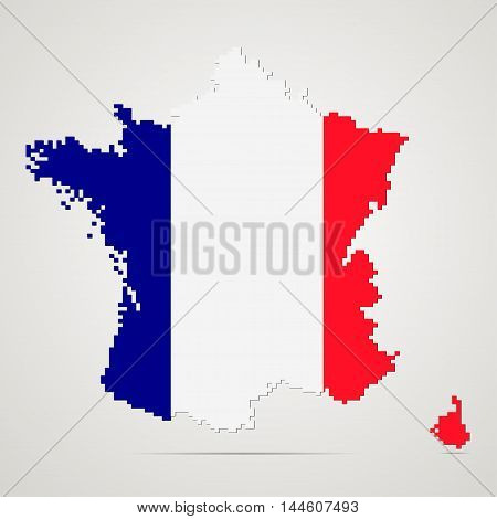Creative pixel France map vector illustration. French patriotic poster.