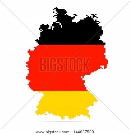 Creative pixel Germany map vector illustration. German patriotic poster.