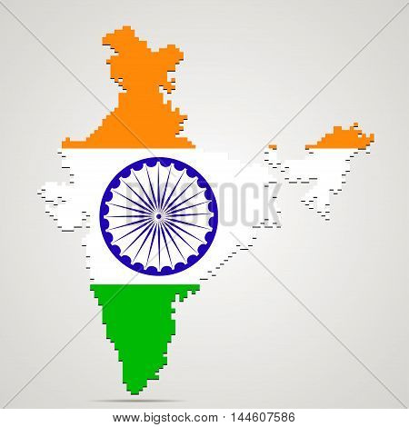 Creative pixel India map vector illustration. Indian patriotic poster.