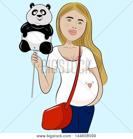 Pregnanat woman with balloon in the form of panda. Funny cartoon. Vector illustration.