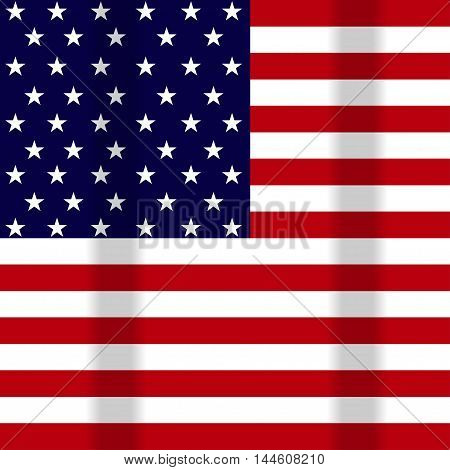 Vector illustration of a waving flag of the United States of America