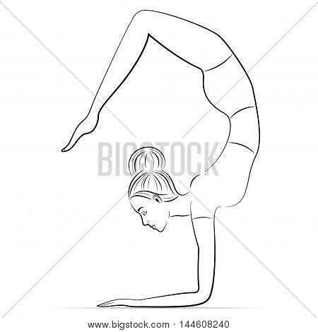 Female yoga in the scorpion pose black and white outline. Vector illustration.