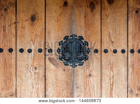 Traditional Korean wooden doors.Vintage style.Close up view.
