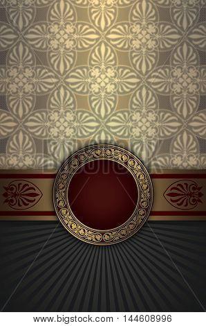 Vintage luxury background with elegant frame and decorative patterns.