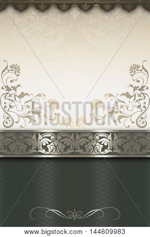 Ornate vintage background with decorative ornamental borders and floral patterns. Vintage invitation card or book cover design.