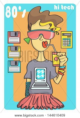 Cute 80s style girl with cool sunglasses and retro technology.