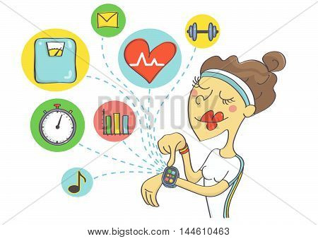 Wearable technology for sport women. Woman checking out health data and planning exercise on smart watch.