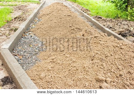 construction of a new pavement in a residential area closeup