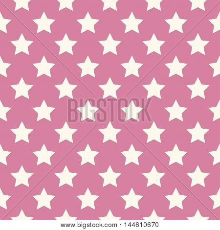 Seamless stars pattern vector in pink tones