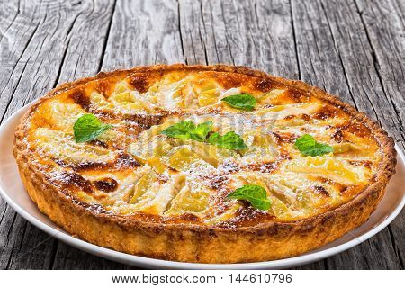 Homemade apple pie sprinkled with icing sugar decorated with mint leaves on dish on wooden background close-up